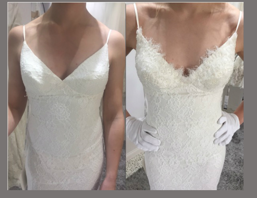 Bride has a straight and slender figure