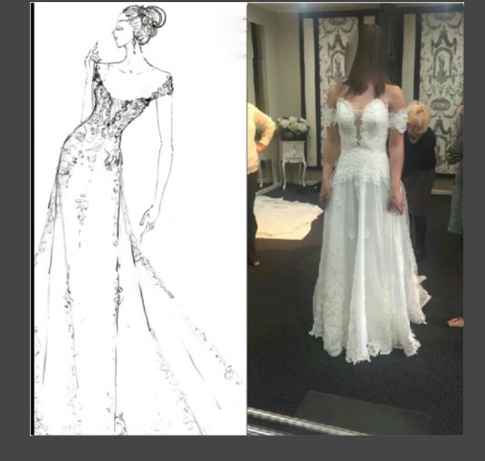 Brides dress not the same as the designers sketched it