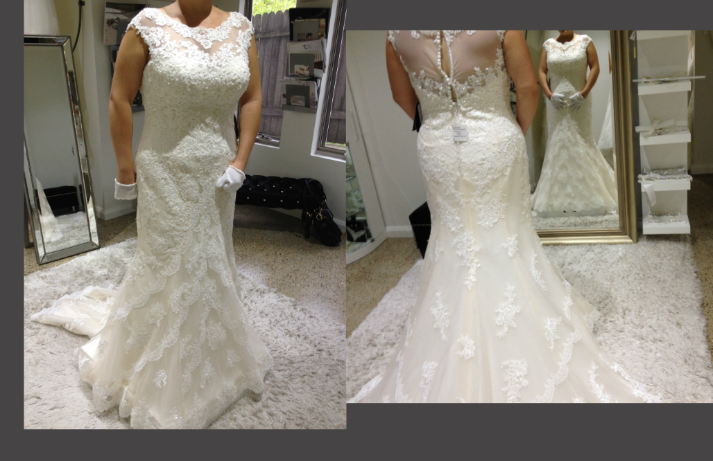 Plus size bride in fit and flare lace wedding dress